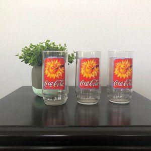 Coca Cola Sunshine Glasses Cups Vintage Set of 3